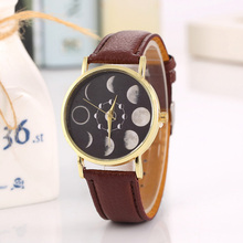 2017 Simple Fashion Large Moon Lunar Pattern Leather Quartz Watches Student Women Retro Analog Wristwatches Men Casual WatchHP36
