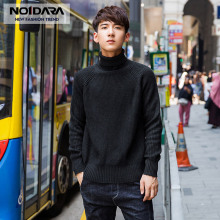 No.1 dara 2018 New Winter Brand Clothing Sweater Men Turtleneck Slim Fit Pullover Solid Color Knitted