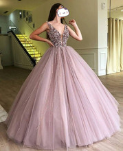 Abendkleider 2019 Evening Dresses Sparkle Beaded Tutu Ball Gowns Crystal Pearls Vintage Long V-neck Prom Gown