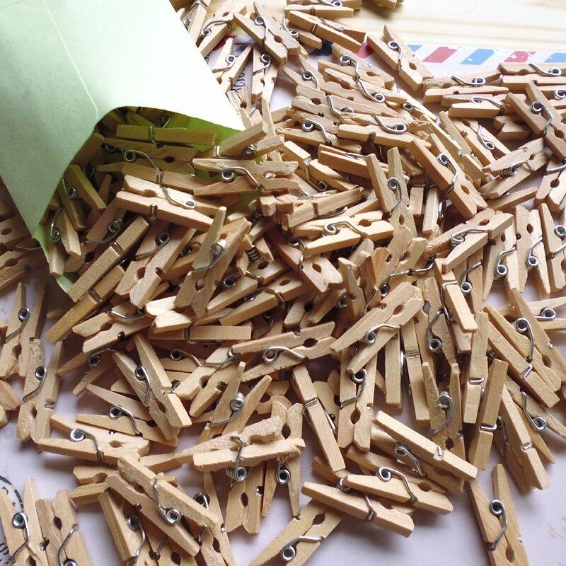 Mini clipe de madeira para fotos, 50 peças de mini clipe de madeira natural suprimentos de escritório foto memo pinos de madeira artesanato diy clipes de decoração de cartão postal comprimento 2.5cm