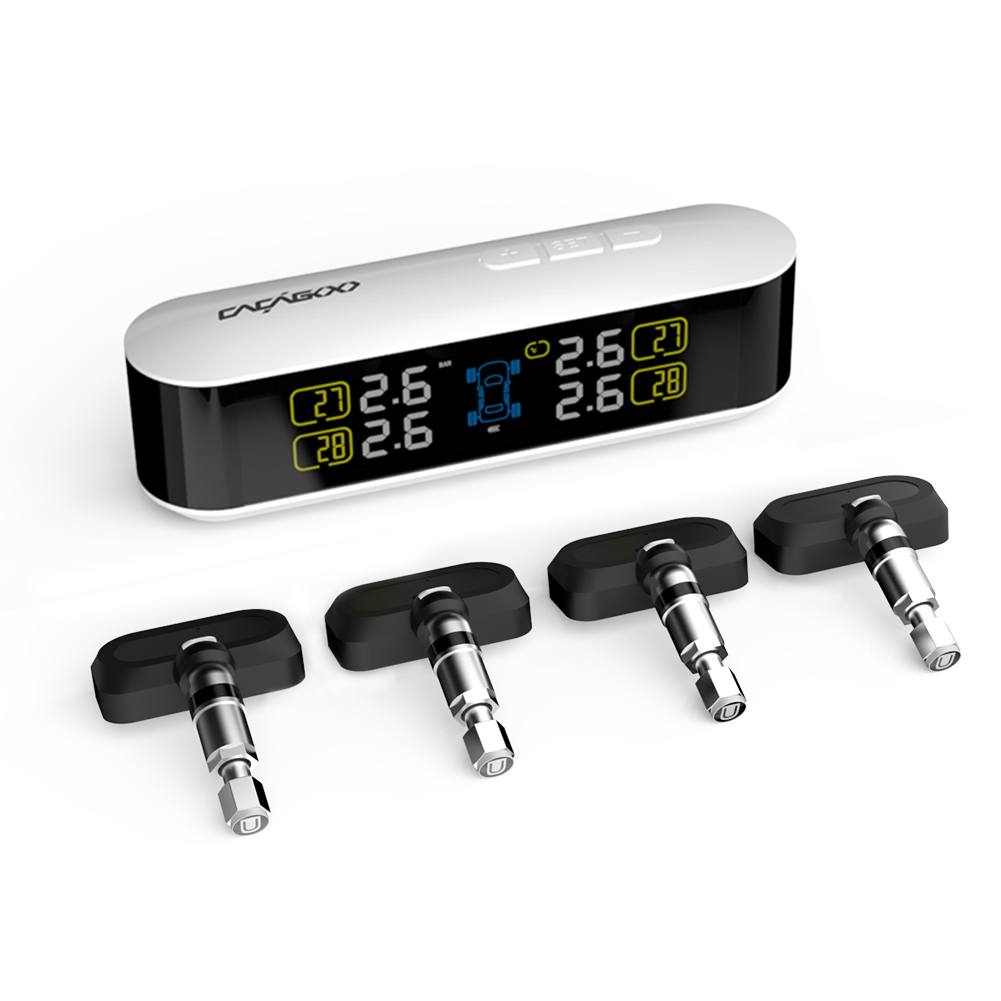 Wireless Real-time TPMS Tire Pressure Monitoring System with Large Clear LCD Display Alarm 4 Internal Sensors Psi Bar Units waterproof m3 motorcycle real time tire pressure monitoring system tpms wireless lcd display internal or external th wi sensors