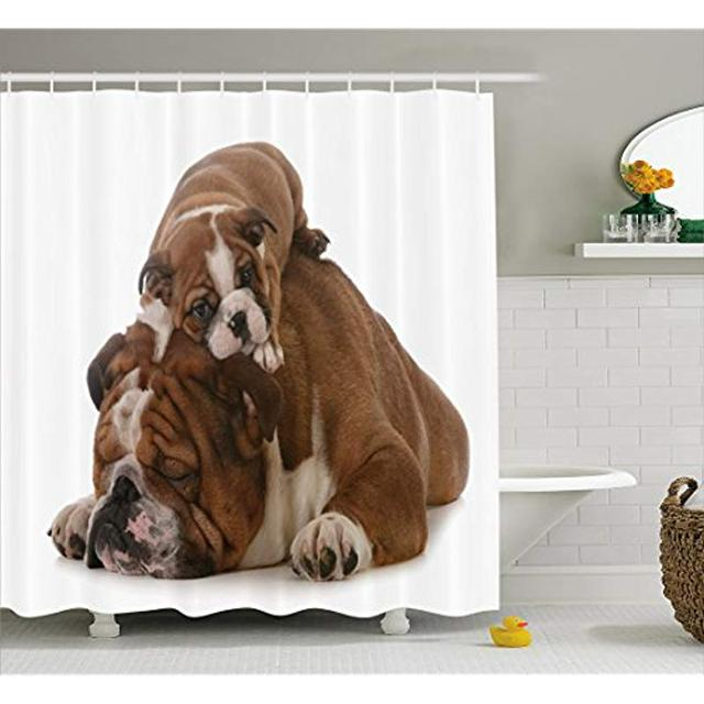 Vixm English Bulldog Shower Curtain Father And Son Bulldogs Fathers Day Photograph Domestic Pet Animals Fabric Bath Curtains