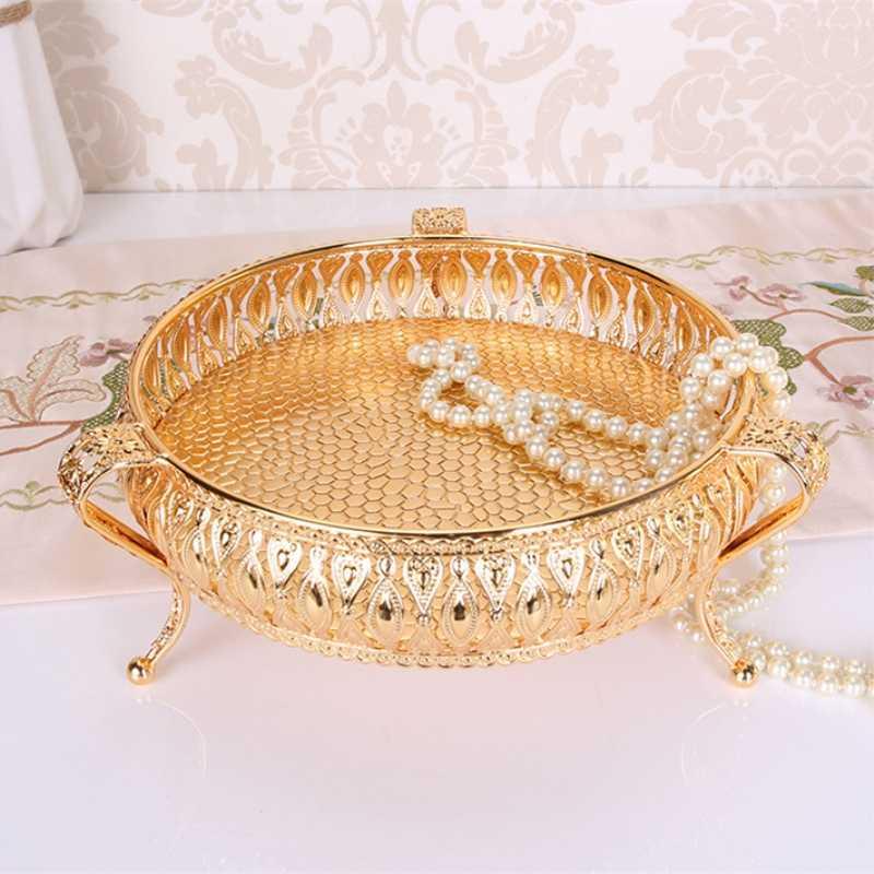 Baki Logam Emas Mewah Menyelesaikan Hollow Piring Kacang/Buah/Kue Stand Pernikahan Centerpieces Rumah Dekorasi Meja