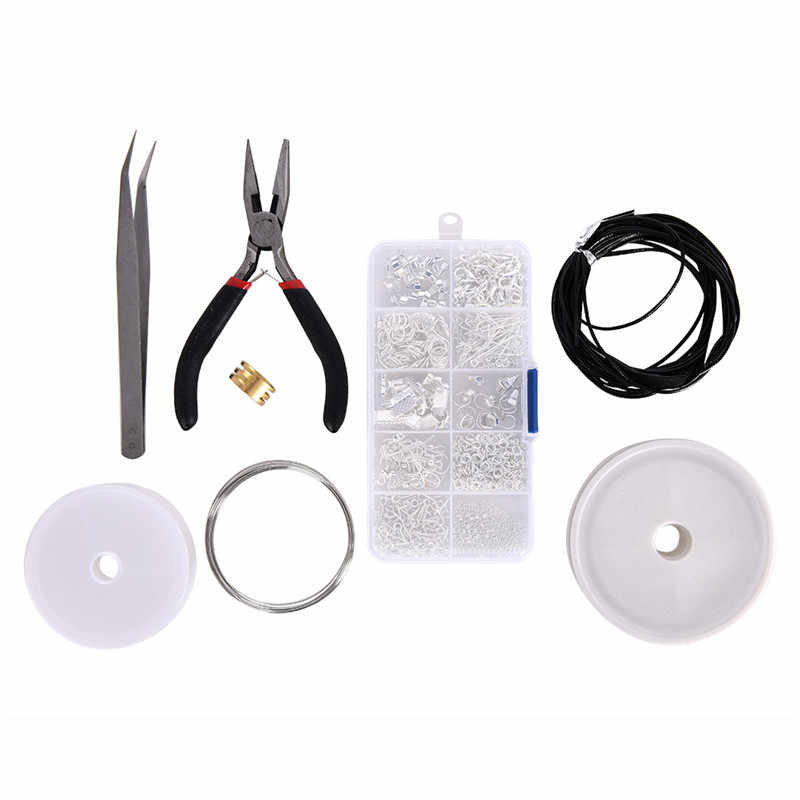 2018 Hot Jewelry Findings Set Jewelry Making Kit Starter Kit Jewelry Beading Making & Repair Tools Kit Pliers Silver Beads Wire