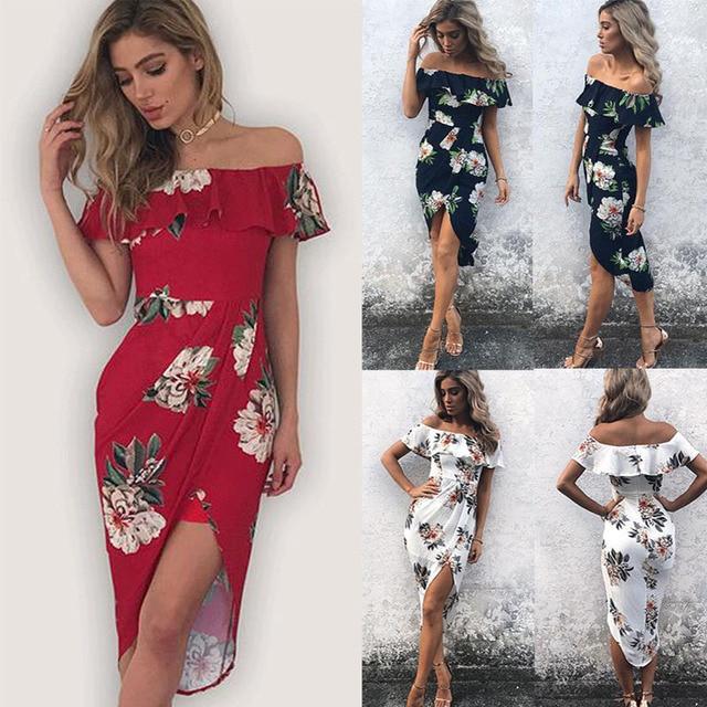 9513140ce89 Summer Dress Women 2018 Sundress Beach Bohemian Dovetail Maxi White Long  with a slit split Sexy Off Shoulder Boho Beach Dresses
