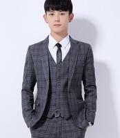 (Jacket+Pant+Vest) Men Plaid Slim Fit Three piece Suit Casual Jackets One Button Clothes Male M 3XL Grey Blue Fashion Suit K318