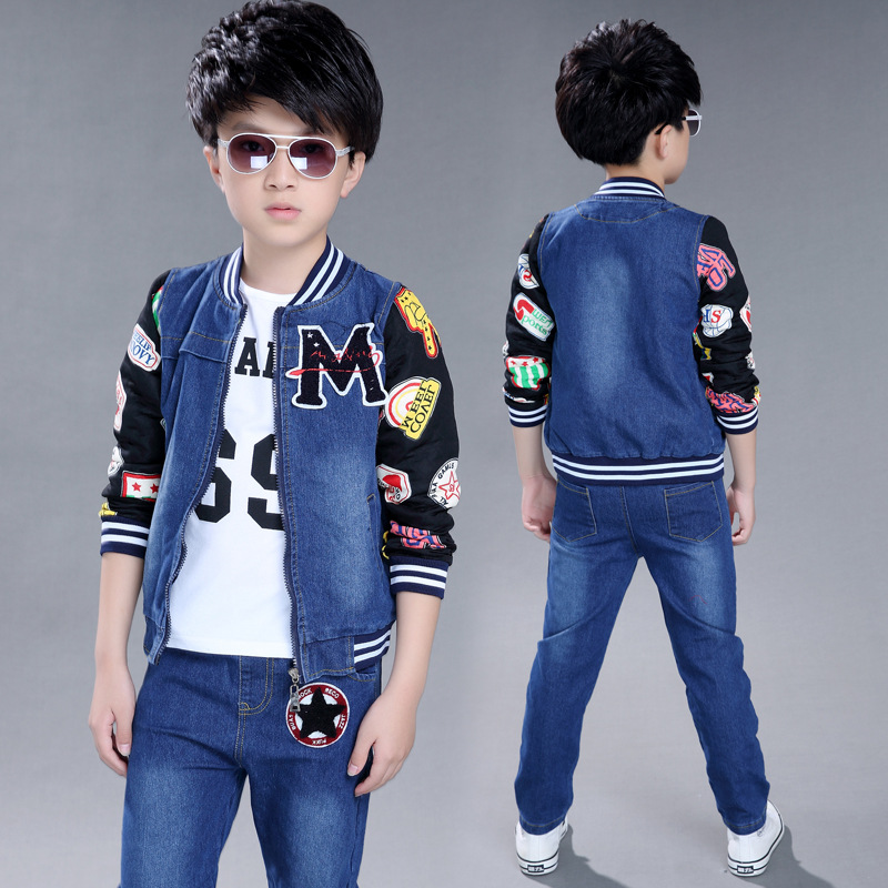 Autumn Children Clothing Set Boys White Letter T-Shirts +Denim Jackets+Jeans Pants 3pcs teenage boys clothes sets tracksuit kids купить
