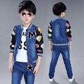 Outono Conjunto de Roupas Crianças Meninos Carta Branca Camisetas + Denim Jackets + Calças Jeans 3 pcs meninos adolescentes roupas conjuntos agasalho crianças