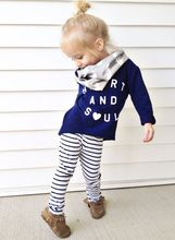Baby Kids Clothing Outfits Set Girls Letter Heart Spring Long Sleeve Tops Shirt Blouse+Striped Leggings Pants Outfit Suits 1-6Y