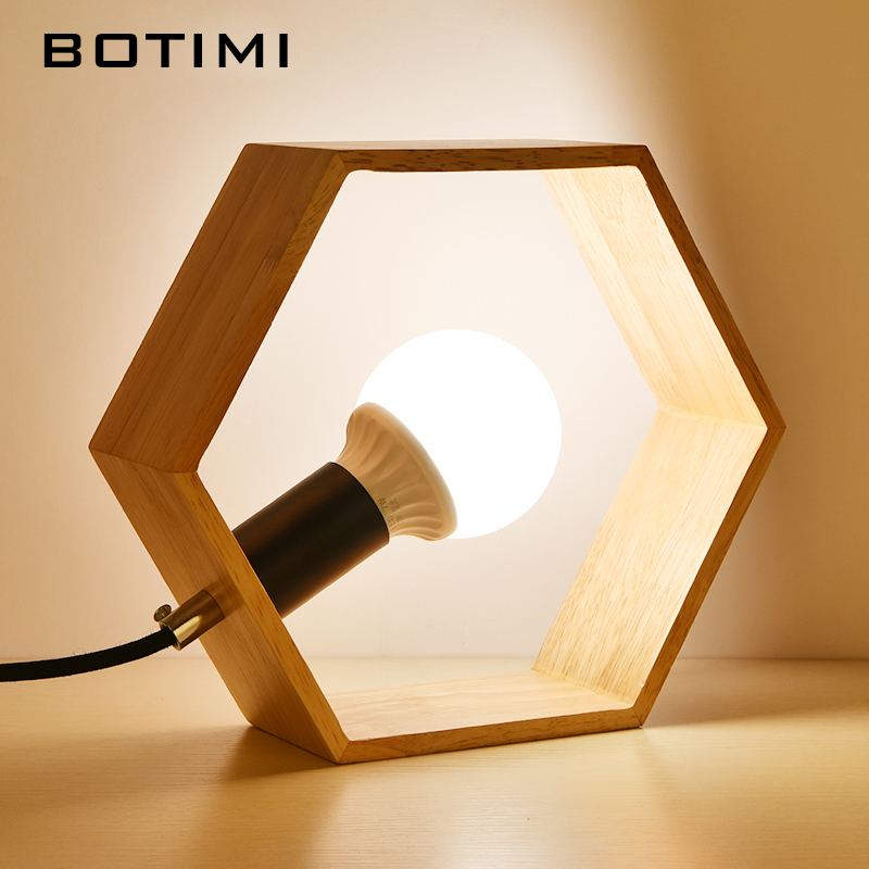 BOTIMI Creative Table Lamp Wooden Bedside Desk lights Table Lamps For Bedroom E27 Book Lamps Room Lighting Fixture LED Luminaria jinhao exquisite silver dragon sculpture roller ball pen office stationery luxury brand collection gift pens with set pen box