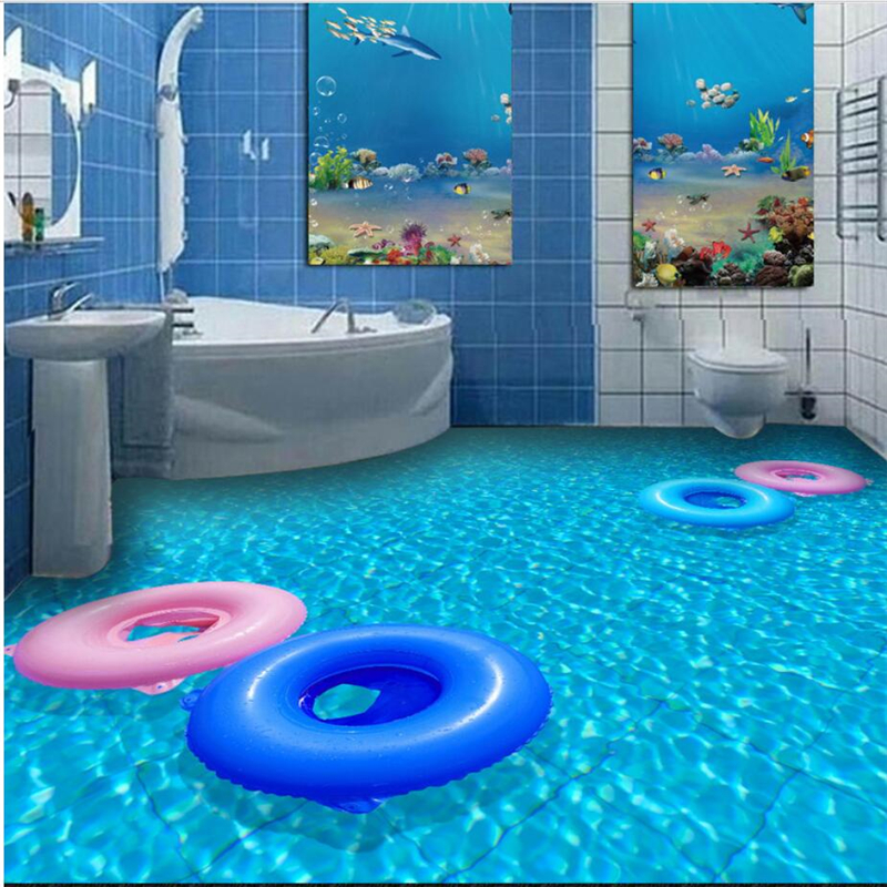 Custom creative bathroom toilet Wei blue sea swimming pool 3D floor three-dimensional decorative painting non-slip self-adhesive commercial sea inflatable blue water slide with pool and arch for kids