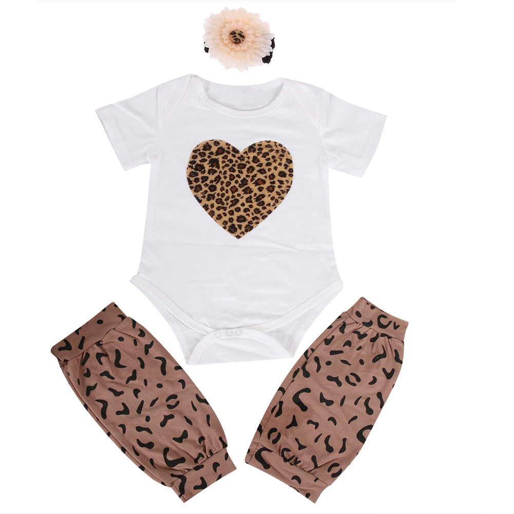 New Infant Baby Boy Girl Clothing Leopard Print Romper+Shorts+Headband Set Summer 2017 Causal Baby Clothes Set