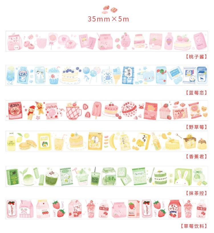 35mm*5m Kawaii Strawberry Series Matcha Cake Desse Washi Tape Diy Ablum Diary Scrapbooking Label Masking Tape Sticker