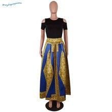 Kadın sonbahar sarı altın baskı, yuvarlak yaka kısa kollu çıplak omuz popüler xxxxxxL büyük elbise