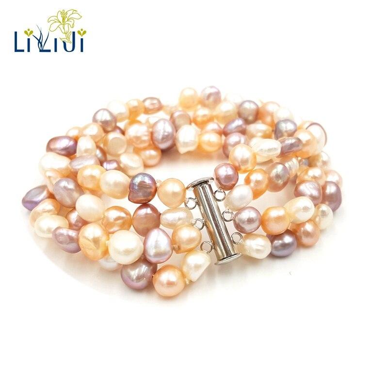 Lii Ji réel Multi couleur blanc rose violet perle d'eau douce 4 rangées Bracelet pour femmes bijoux de mode