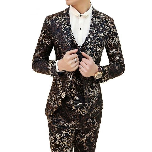 2016 Wedding Mens Suit Luxury Vintrage Baroque Floral Mens Suits With Pant Vest  Jacket Suit For 4dd2661ef6cc