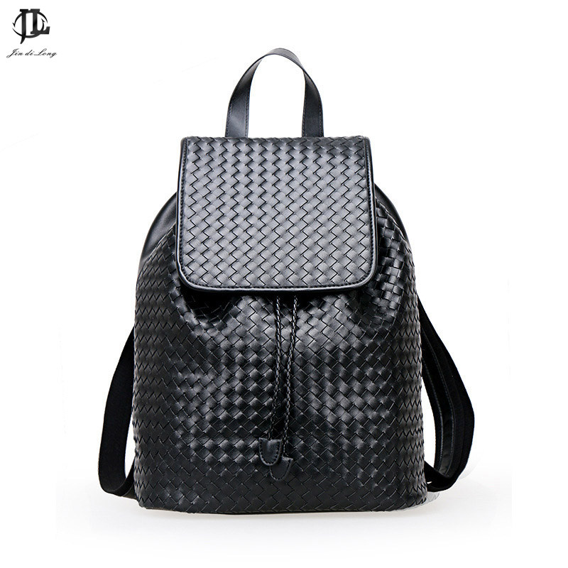 Designer Men Backpacks Weave Pu Leather School Bag For Teenagers Black Women Backpack Travel Bolsas Mochila Feminina