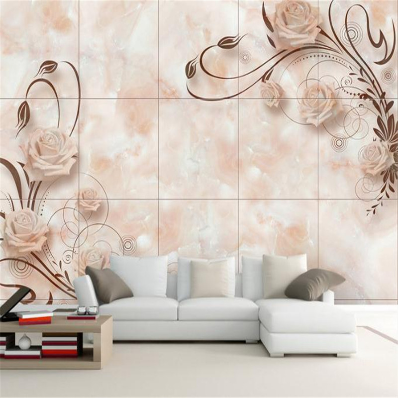 Custom 3D Effect Modern Fashion Photo Wall Paper Living Room Bed Room Desktops Wall Mural European Romantic Marble Tiles Mural beibehang custom european marble carpet 3d photo wallpaper for living room bedroom bathroom floor painting wall mural wall paper