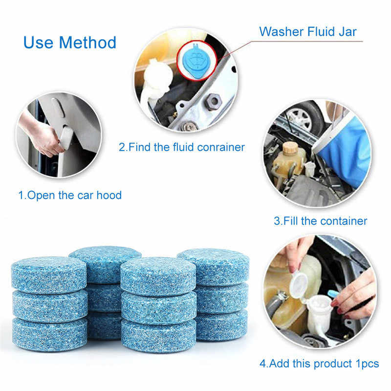 5PCS (5PCS=20L Water) Auto Car Windshield Glass Cleaner Car Solid Tablets Wiper Fine Wiper Auto Window Cleaning Car Accessories