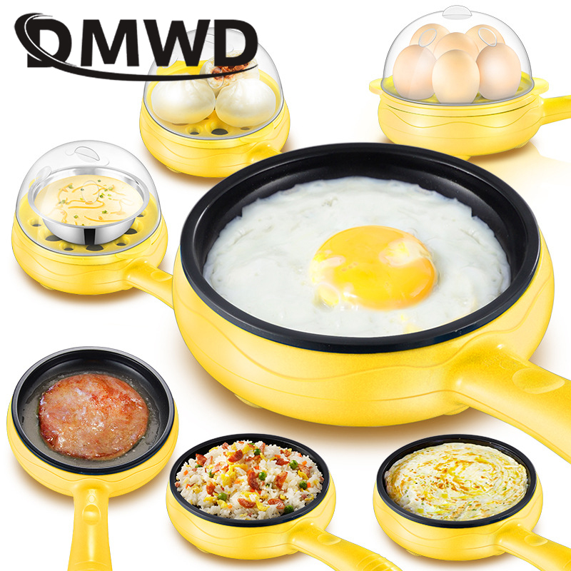 DMWD Multifunction Mini Electric Egg Omelette Cooker Eggs Boiler Food Steamer Pancake Fried Steak Non-stick Frying Pan 110V 220V