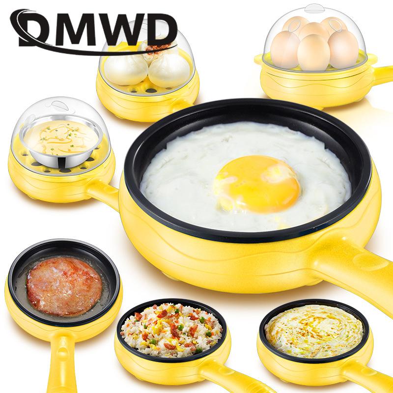 DMWD Multifunction Mini Electric Egg Omelette Cooker Eggs Boiler Food Steamer Pancake Fried Steak Non stick Frying Pan 110V 220V