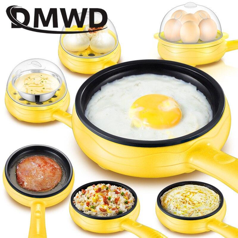 DMWD multifunción hogar mini huevo tortilla panqueques eléctrico frito sartén no-Stick huevos caldera de vapor de la UE
