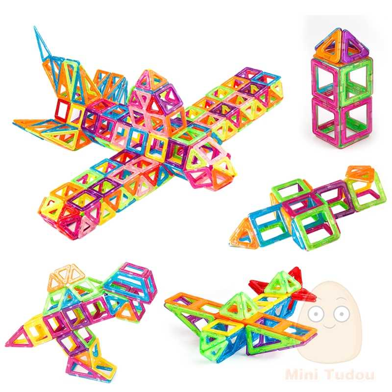 مصغر 200 قطعة-46 قطعة المغناطيسي مصمم منشئ لعبة للبنين بنات المغناطيسي اللبنات المغناطيس ألعاب تعليمية للأطفال