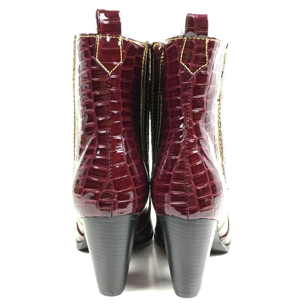 Aimirlly Frauen Stiefeletten karree Block Ferse Krokodil Druck Cowboy Booties Wein Rot Winter Herbst Clubwear Partei Schuhe-in Knöchel-Boots aus Schuhe bei  Gruppe 2
