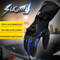 SUOMY Brand Winter Motorcycle Gloves Warm Waterproof Gloves Motorcycle Riders Anti Fall Off Glove Red Black