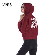 купить YYFS Hoodies Women Harajuku Letter Print Hooded streetwear New Sweatshirt Female Korean Long Sleeve Women Hoodies Sweatshirts онлайн