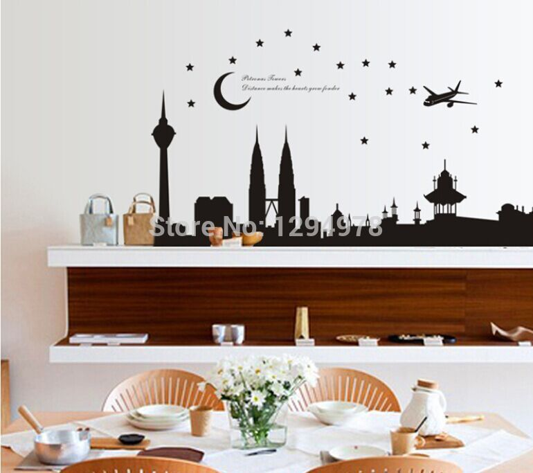 free shipping home decor malaysia petronas twin towers moon and stars bedroomparlour background wall stickers 6090cm ay1938 - Home Decor Malaysia