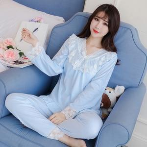 Image 4 - Pijama Sexy de primavera otoño para mujer, versión coreana de princesa breeze, fresco traje de invierno de dos piezas de algodón puro de manga larga para estudiante