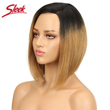 Sleek Brazilian Remy Human Hair Wigs For Women Straight Lace Front Wigs Hair Short Bob Wig ombre blond BLUE wig Free Shipping(China)