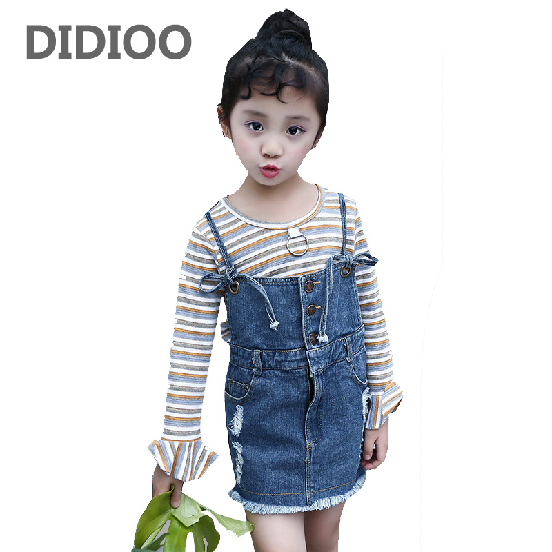 Children Clothing Sets For Girls Long Sleeve Striped T-Shirts & Denim Overalls 2Pcs Spring Autumn Kids Tees Girls Ripped Dresses