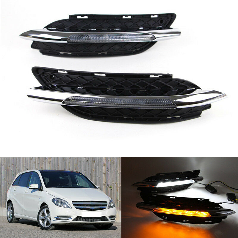Car Flashing 1set for <font><b>Mercedes</b></font> Benz <font><b>B200</b></font> <font><b>W246</b></font> B180 2011 2014 LED DRL Daytime Running Light Daylight with turn signal car-styling image
