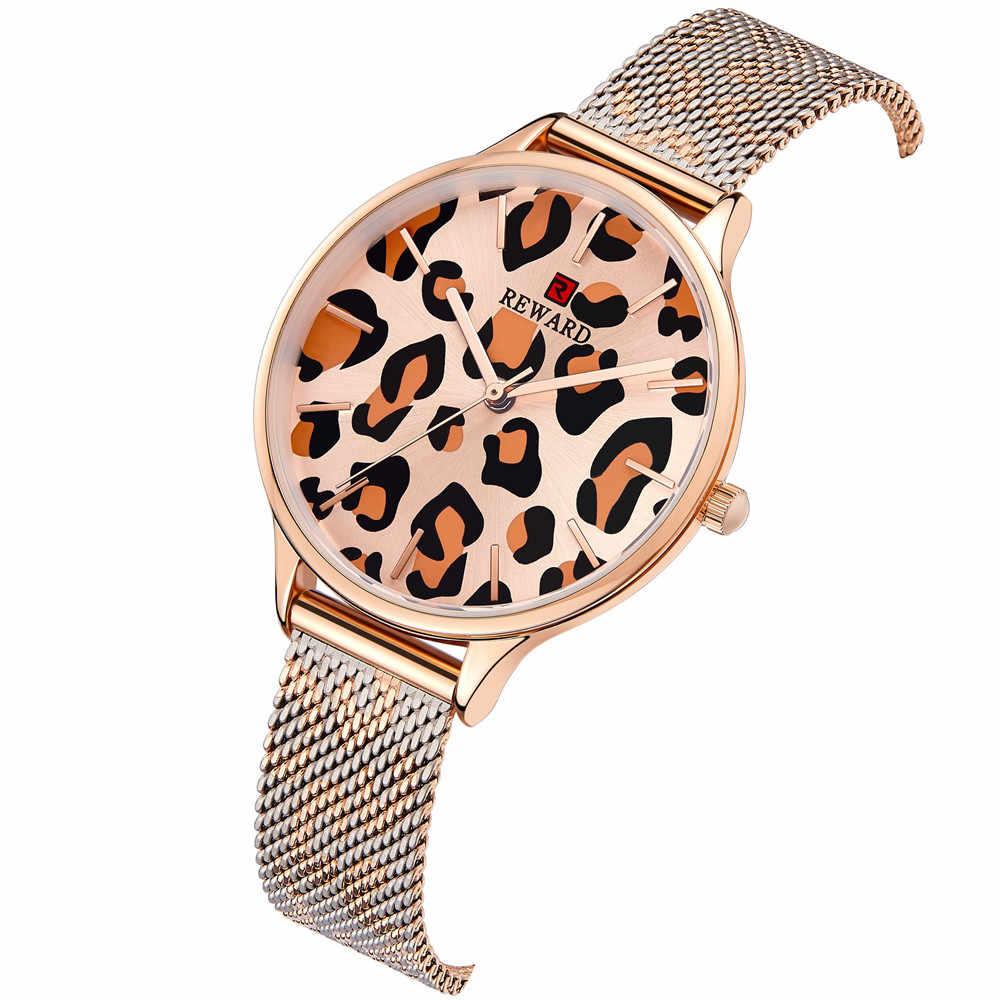 Новый награда Для женщин часы леопардовым принтом Сталь сетчатым Для женщин Мода Ультра-тонкие часы японский движение 3ATM дамы часы