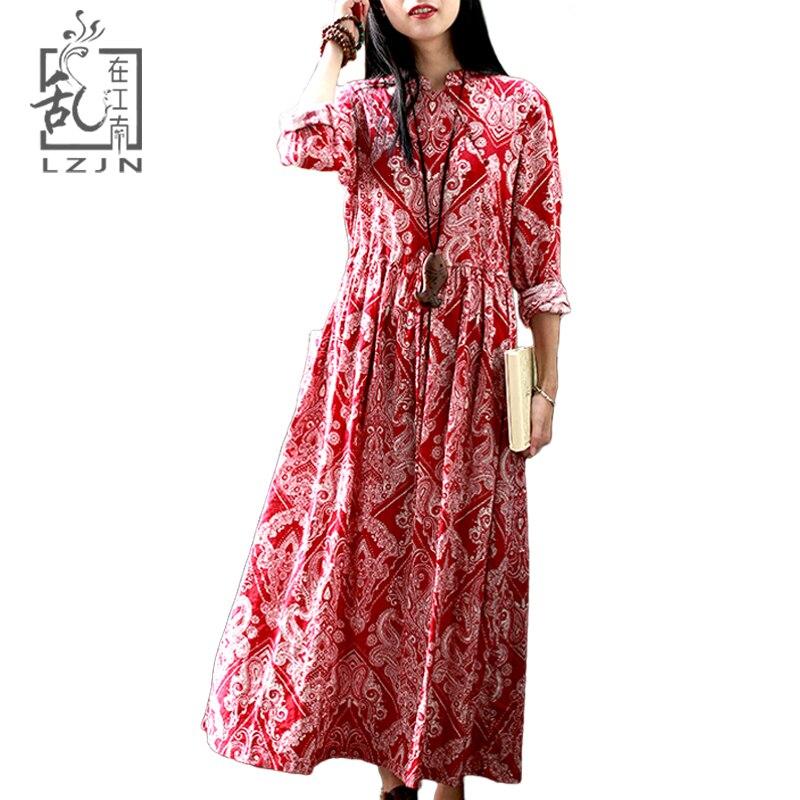 LZJN 2019 Spring Summer Long Floral Dress Mori Girl Red Vintage Cotton Robe Femme Ethnic High