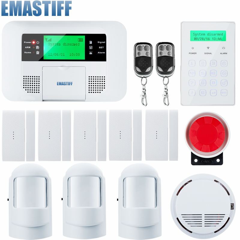 IOS Android APP Control Wireless Home Security GSM Alarm System Intercom Remote Control Autodial Wired Siren Sensor Kit kerui ios android app control 8 independent zones gsm home alarm system door window sensor open remind wireless flashing siren