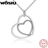 100 Real 925 Sterling Silver Heart To Heart Romantic Pendant Necklaces With Shiny Clear CZ For