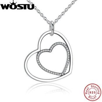 100% реальные 925 пробы серебряные сердца к сердцу Романтический кулон ожерелья с блестящие ясно CZ для Для женщин изделий подруга подарок