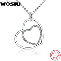 100% Real 925 Sterling Silver Heart To Heart Romantic Pendant Necklaces With Shiny Clear CZ For Women Jewelry Girlfriend Gift
