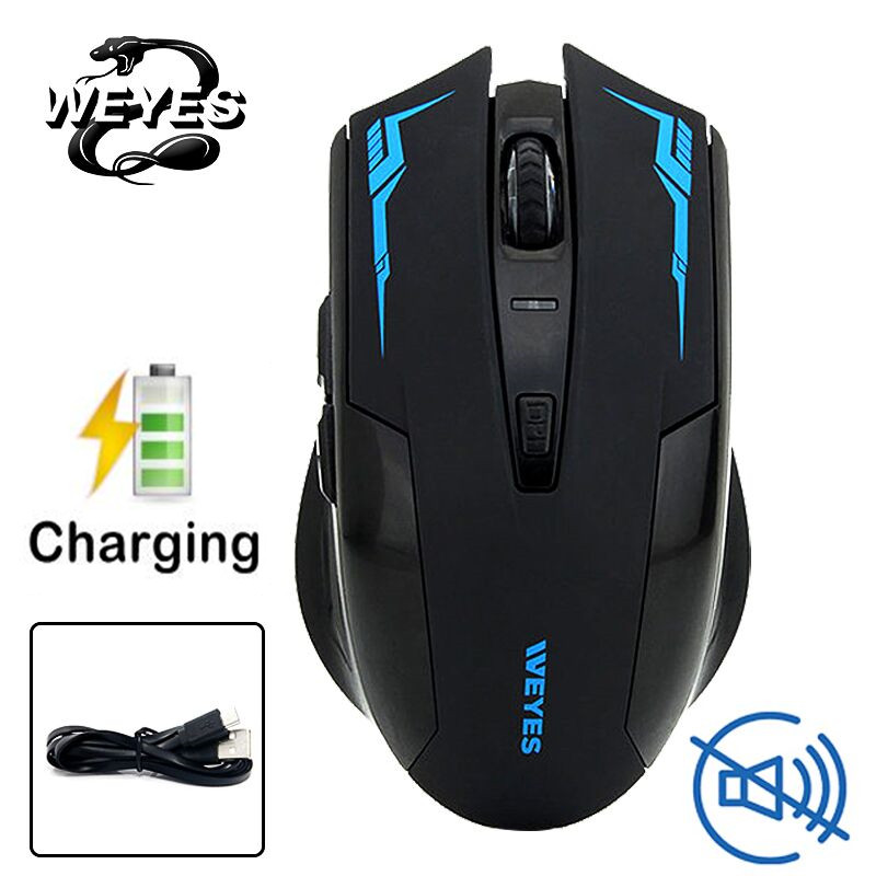 WEYES Charged Silent Wireless Optical Mouse Mute Button Noiseless Gaming Mice 2400dpi Built-in Battery For PC Laptop Computer