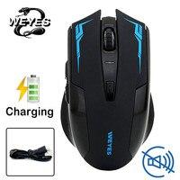 Weyes carregado silencioso sem fio mouse óptico botão mudo silencioso jogos ratos 2400dpi bateria interna para computador portátil computador|Mouse| |  -