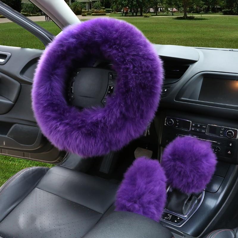 3pcs / set hiver laine couverture de volant de voiture longue laine - Accessoires intérieurs de voiture - Photo 5