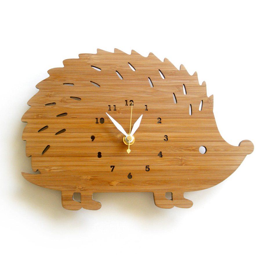 Animal Wall Clock Modern Design Decorative Kids Bedroom Hedgehog Wooden Watch Wall Clocks Home Decor Silent 3D Stickers