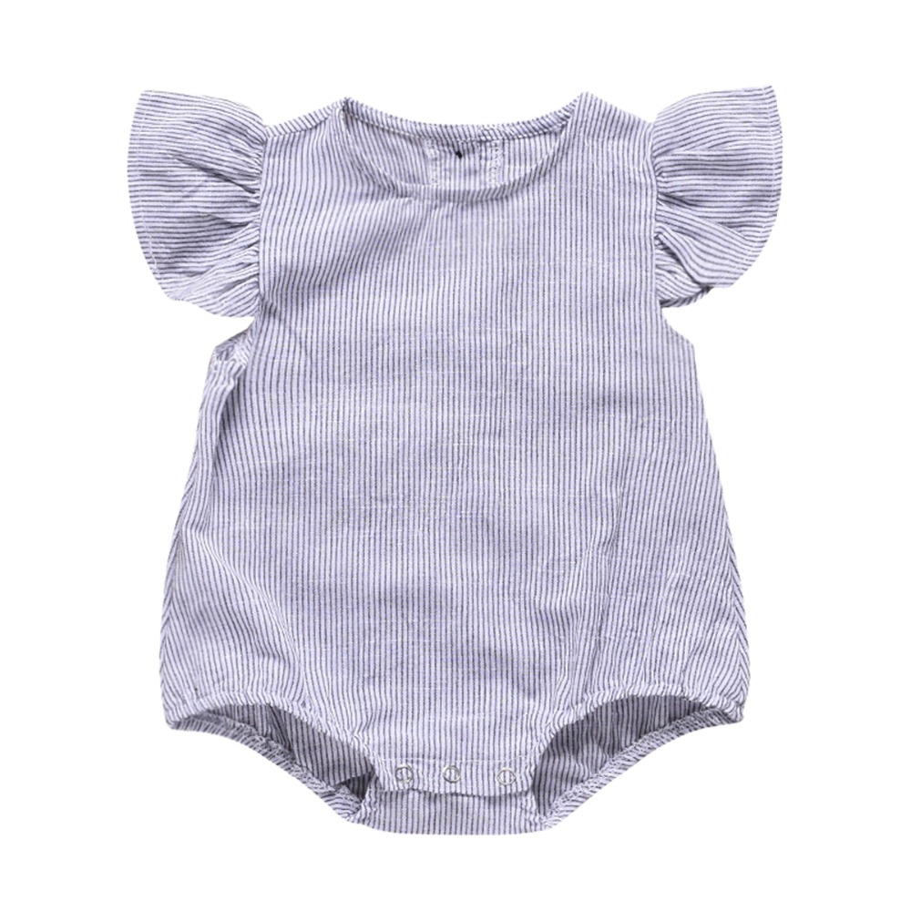 2019 summer Baby Clothing sleeveless Vertical Striped Ruffles   Romper   Newborn Infant Baby Girls Jumpsuit Clothes Outfit