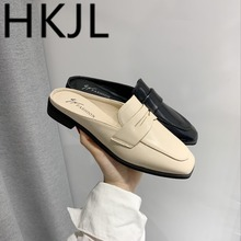 HKJL 2019 spring new minimalist square head baotou flat with half slippers for women to wear fashion slackers A234