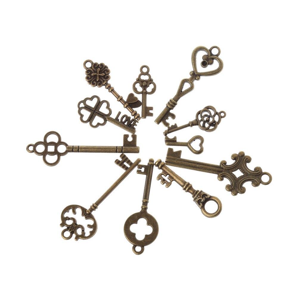 Black Mixed Vintage Old Look Skeleton Keys Fancy Heart Bow Necklace Pendants Set of 30
