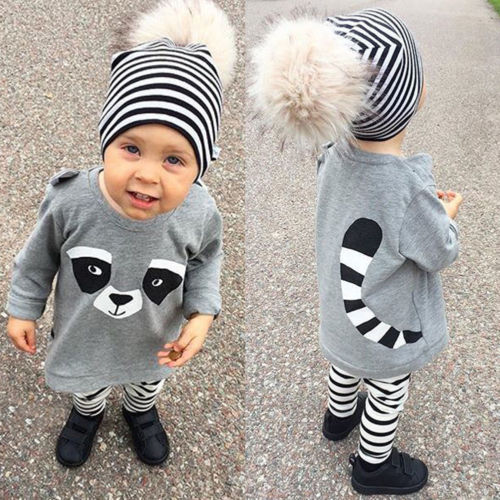Lolely Infant Baby Boy Girl Fall Striped Outfits Ears Raccoon Long Sleeves T-Shirt Long Pants 2Pcs Sets Cotton Clothes 12M-5Y одежда на маленьких мальчиков