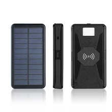 Solar Power Bank 20000mAh Charger 2 USB Ports LED Light External Battery Qi Wireless For iPhone Xiaomi